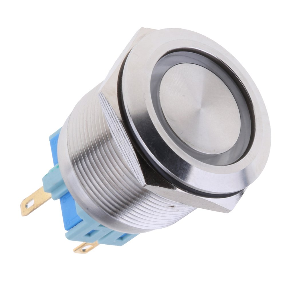 MagiDeal 25mm 1NO1NC Stainless Steel 12V LED Maintained Push Button Switch Green