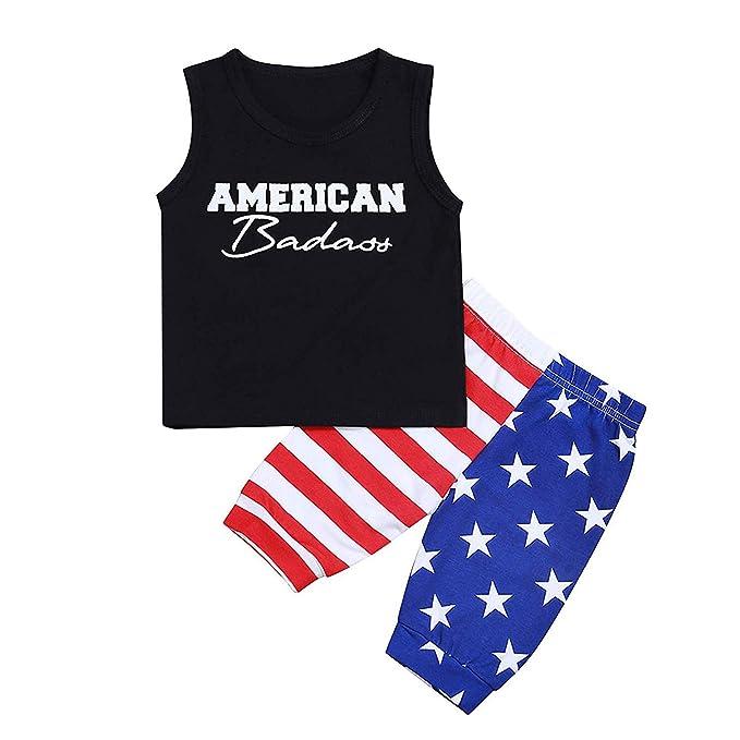 Amazon.com: Conjunto de ropa para bebé Patriótico de 4 de ...