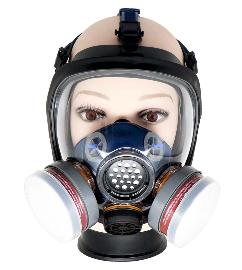 PD-100 Full Face Respirator by Parcil Distribution. 1 Year Factory Guarantee. Double Air Filter, Eye Protection, Gas Mask - Industrial Grade Quality by Parcil Distribution (Image #1)