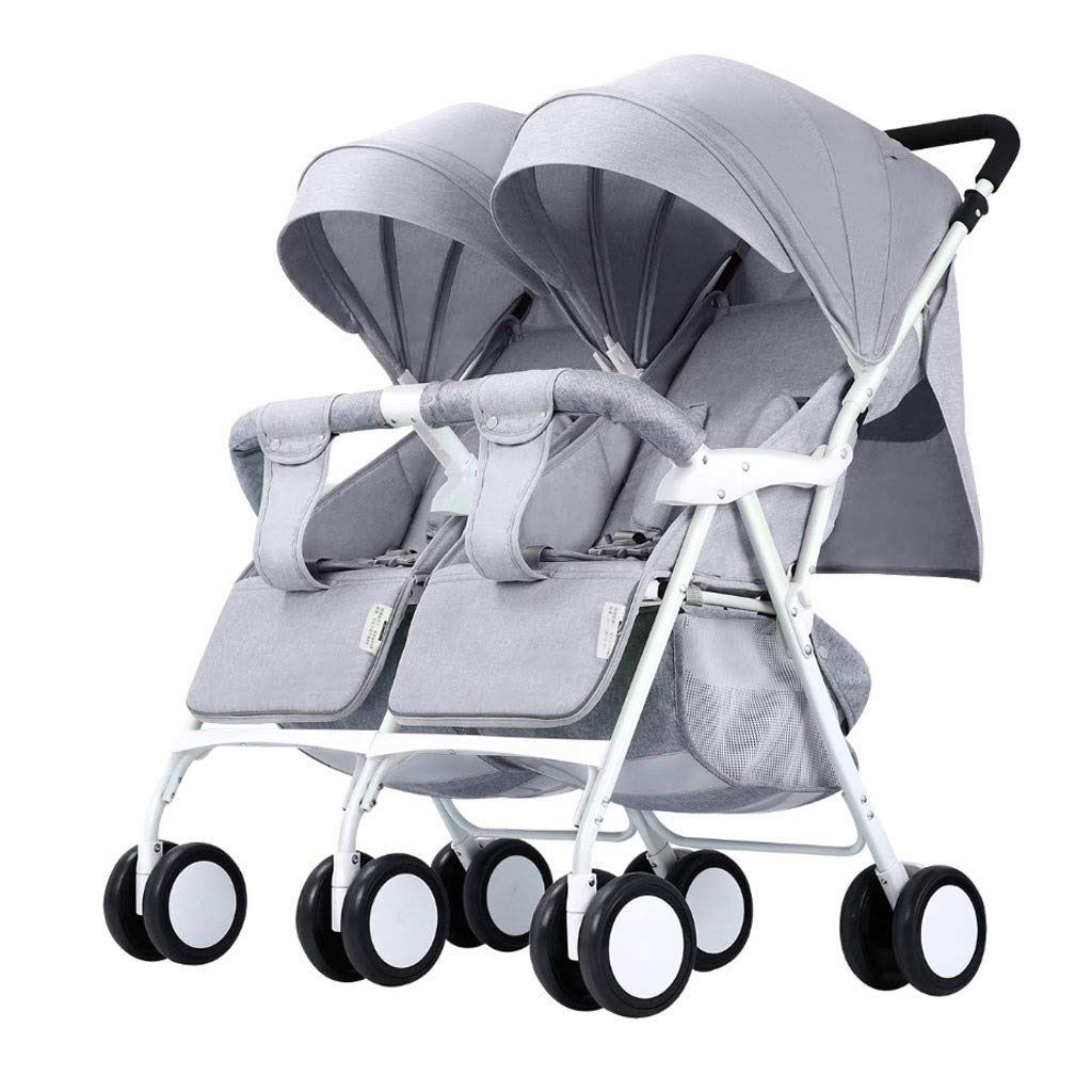 RJJX Home Baby Stroller Stroller Large Storage Space Double Stroller, Durable and Compact Folding Design 4 Colors Optional (Color : Gray) by RJJX Home