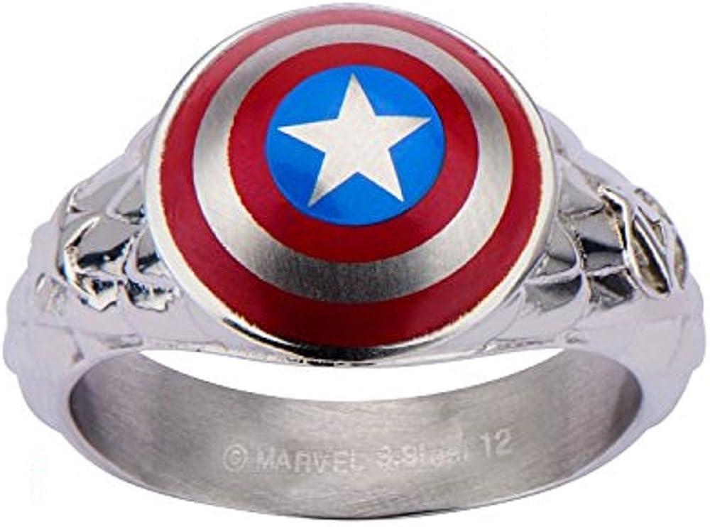 Marvel Men's Captain America Stainless Steel 3D Shield Ring Size 8