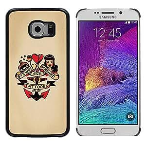 Pin encima del corazón Doll ancla Mujer Tatuaje- Metal de aluminio y de plástico duro Caja del teléfono - Negro - Samsung Galaxy S6 EDGE (NOT S6)