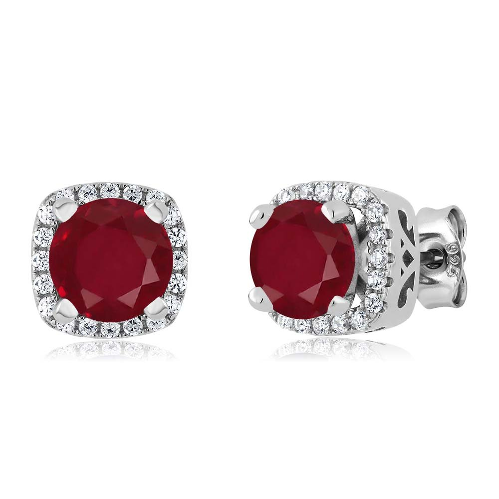 2.48 Ct Round Red Ruby 925 Sterling Silver Earrings