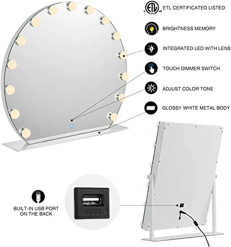 CITYMODA Large Round Hollywood Mirror Makeup Vanity Mirror with Lights, Cosmetic Beauty LED Mirror, 3 Color Model, Dimmable Touch Switch Smart Cosmetic Tabletops, USB Charging Port