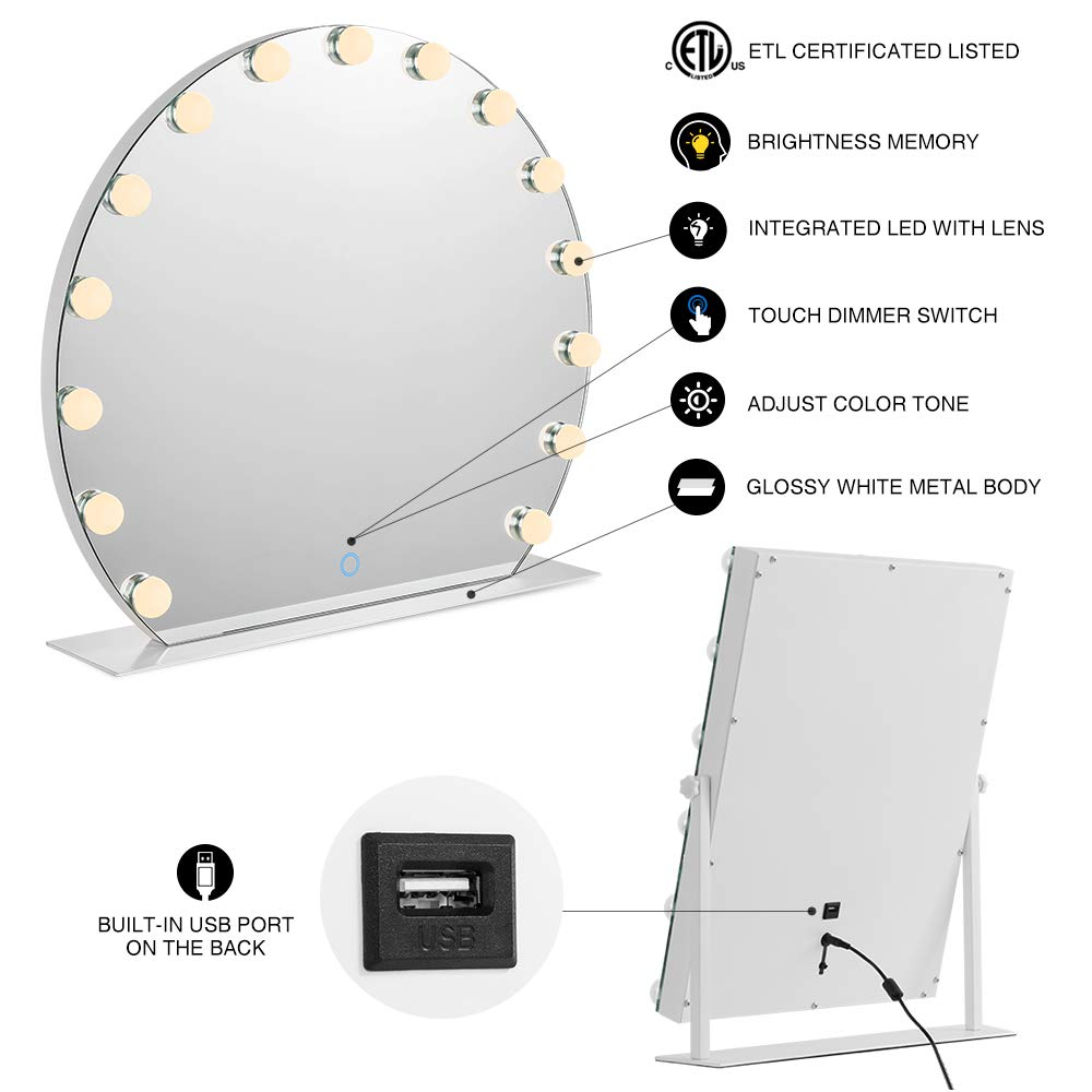 3X Magnification Makeup Dressing Table Mirrors with Dimmable LED Light AI-LIGHTING Hollywood Lighted Vanity Makeup Mirror Light Table Top Vanity Mirror 21x24 inch