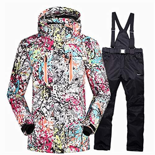 Combinaison de Ski Combinaison de Ski Hiver Femme imperméable 10K Super Chaude Snowboard Set Femme Veste de Neige avec Ski Mask + Snowboard Pants (Color : PK BK Set, Size : S)