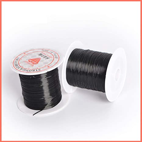 MachinYesell 40 m 43 verges plat /élastique cristal Stretch String cordon en polyester pour la fabrication de bijoux Bracelet perles fil artisanat accessoires couleur: noir