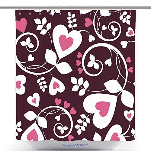 vanfan-Durable Shower Curtains Seamless Background from A Hearts Ornament Fashionable Modern Wallpaper Textile Polyester Bathroom Shower Curtain Set Hooks(70 x 84 inches) ()