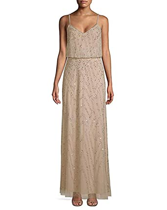 3b4f01fd86 Amazon.com  Adrianna Papell Spaghetti Strap Diamond Beaded Blouson Dress