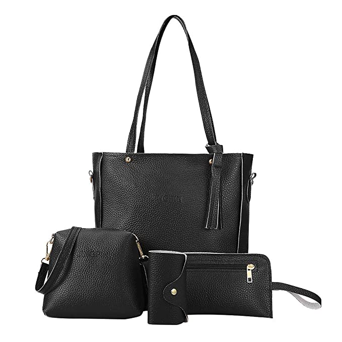 MISYAA Women Fashion Bags, Totes Shoulder Bags Purses Handbag 4PC Bags Sets (Black)