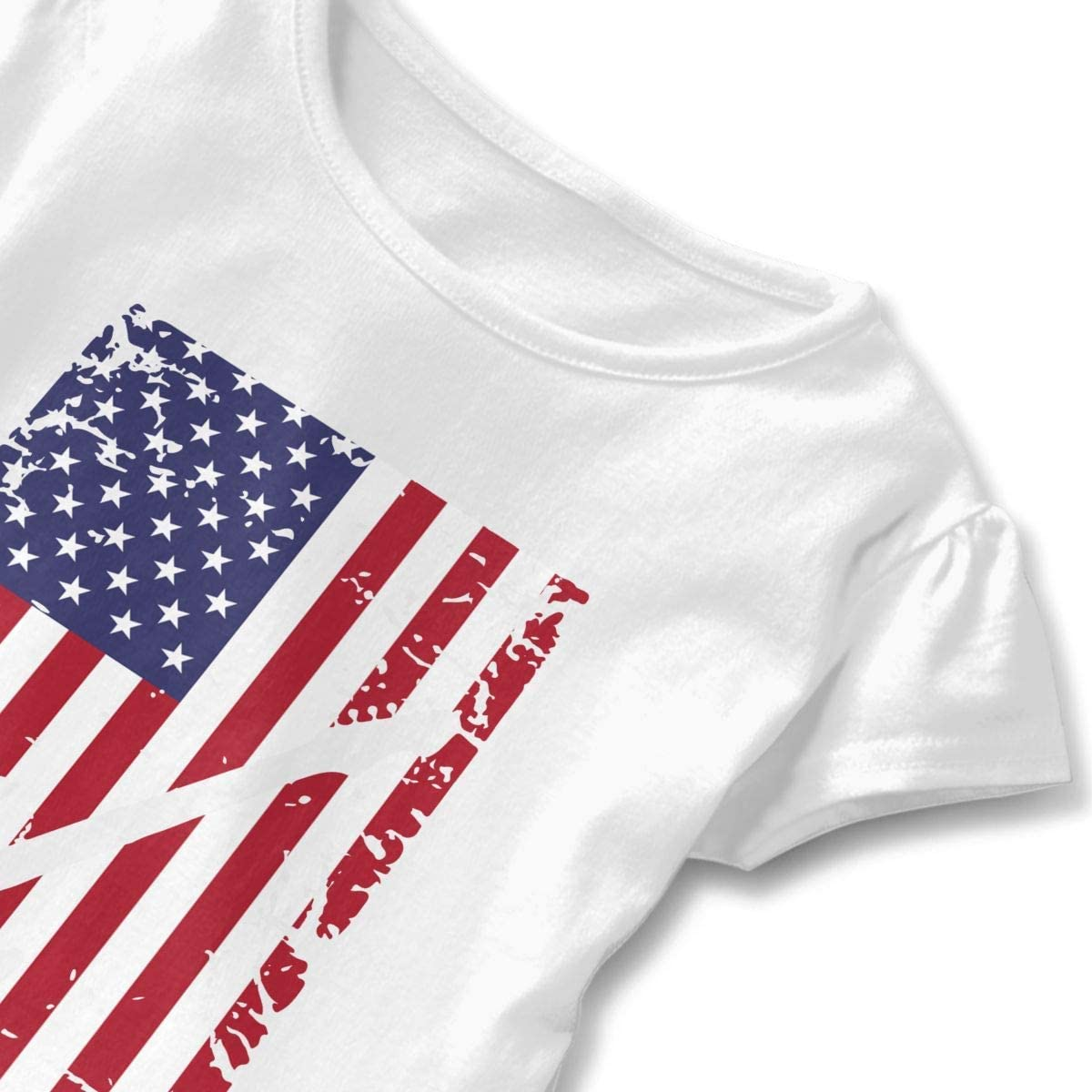 HelloWorlduk Toddler Baby Girl Guitar American Flag Funny Short Sleeve Cotton T Shirts Basic Tops Tee Clothes