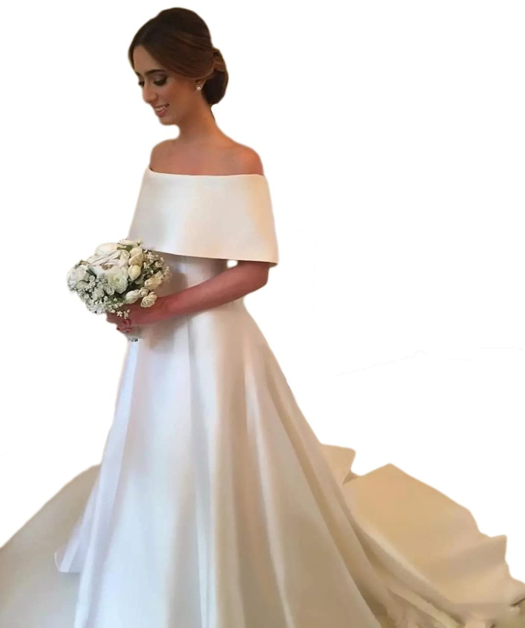 0ad21cefb22 DreHouse Women s Satin Off Shoulder A-Line Church Wedding Dresses Bridal  Gowns 2018 at Amazon Women s Clothing store