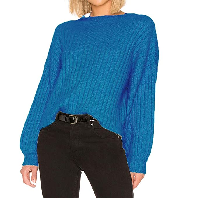 a1a11b362c66 DIKEWANG Ladies Womens Chunky Baggy Jumper Top Women's Knitted Sweater  Leisure Style Pullover Tops for Women