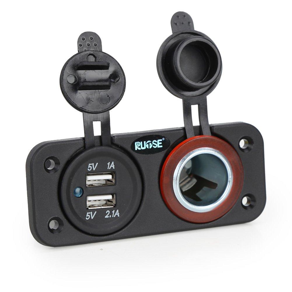 Rupse Kfz Auto Zigarettenanzü nder 12v 24v USB Ladegerä t 2 Port Adapter Einbau Steckdose Wasserdicht fü r Kfz, LKW , Auto, Boot