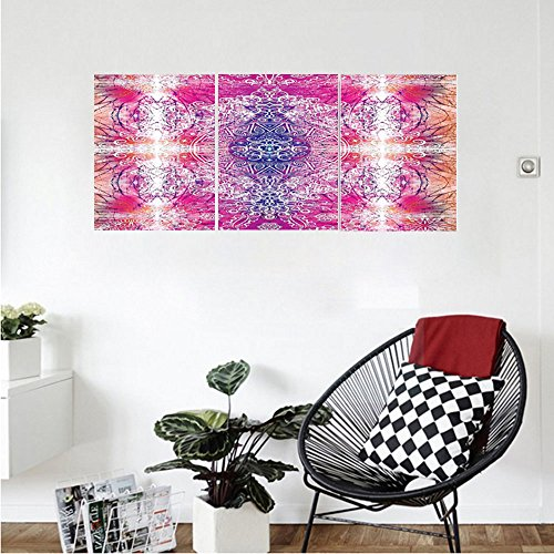 Far Eastern Decor (Liguo88 Custom canvas Home Decor Collection Far Eastern Style Traditional Mandala Tie Dye Style Ombre Print Harmony Meditation Theme Decor Bedroom Living Room Wall Hanging Pink)
