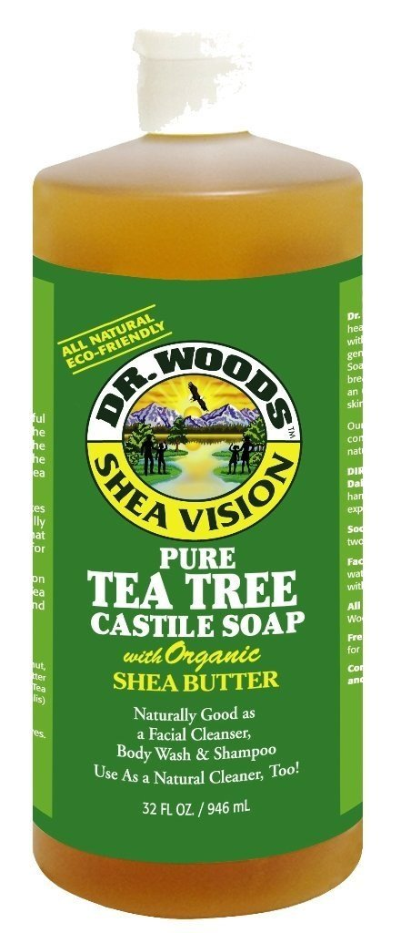 Dr. Woods Pure Tea Tree Castile Soap with Organic Shea Butter, 32 Ounce (Pack of 3)
