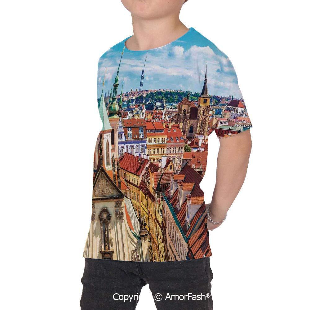 PUTIEN Cityscape All Over Print T-Shirt,95/% Polyester,Childrens Short Sleeve T-ShirtSc