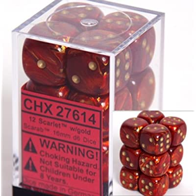 Chessex Dice D6 Sets: Scarab Scarlet with Gold - 16Mm Six Sided Die (12) Block of Dice, Red: Toys & Games