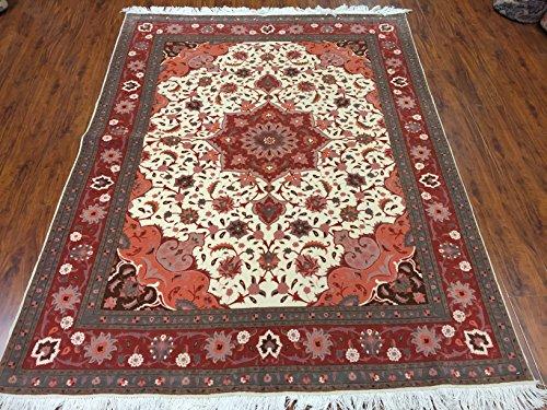 Fine Tabriz silk ivory and rust ()