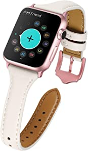 HUAFIY Leather Bands Compatible with Apple Watch band 38mm 40mm , Top Grain Leather Band Slim & Thin Wristband for iWatch Series 5/4/3/2/1 (White band/Rose Gold Buckle, 38mm40mm)