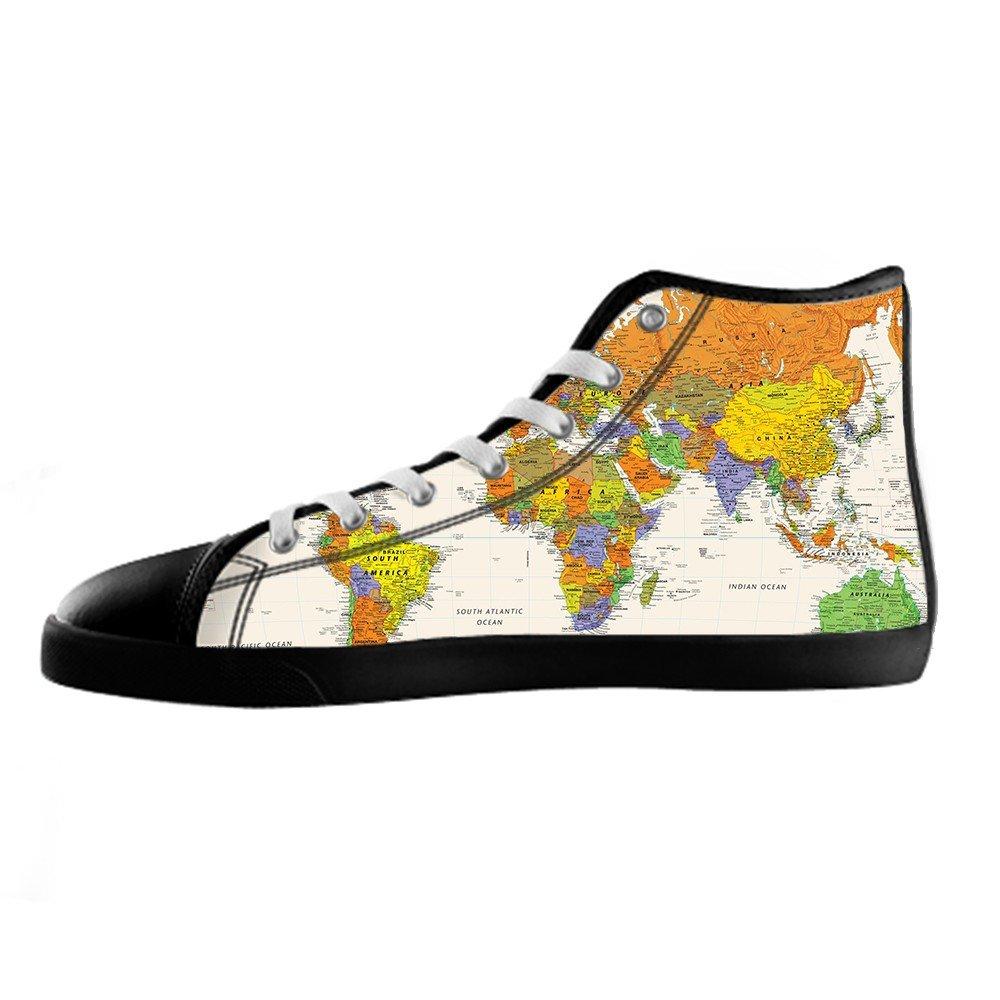 Custom Mappa del mondo Uomo Canvas Canvas Canvas scarpe I lacci delle scarpe in Alto sopra le scarpe da ginnastica di scarpe scarpe di Tela. a83688