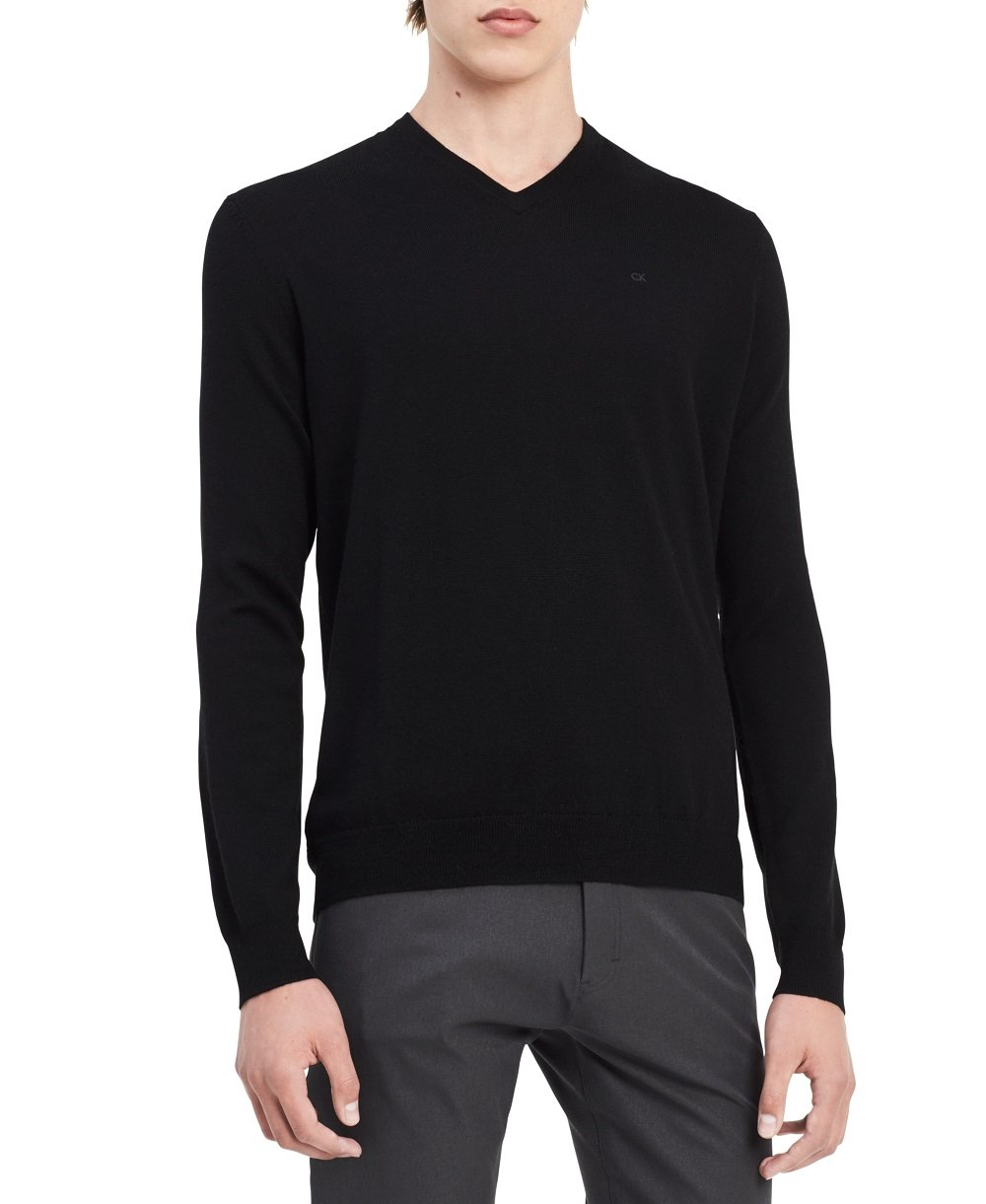 Calvin Klein Men's Merino Solid V-Neck Sweater, Black, X-Large
