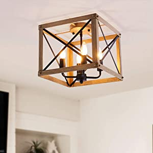 VILUXY Retro Industrial Rectangle Metal Flush Mount Ceiling Light Fixture with Painted Wood Look Finish Shade for Hallway, Entryway, Passway, Dining Room, Bedroom, Balcony Living Room 4-Light