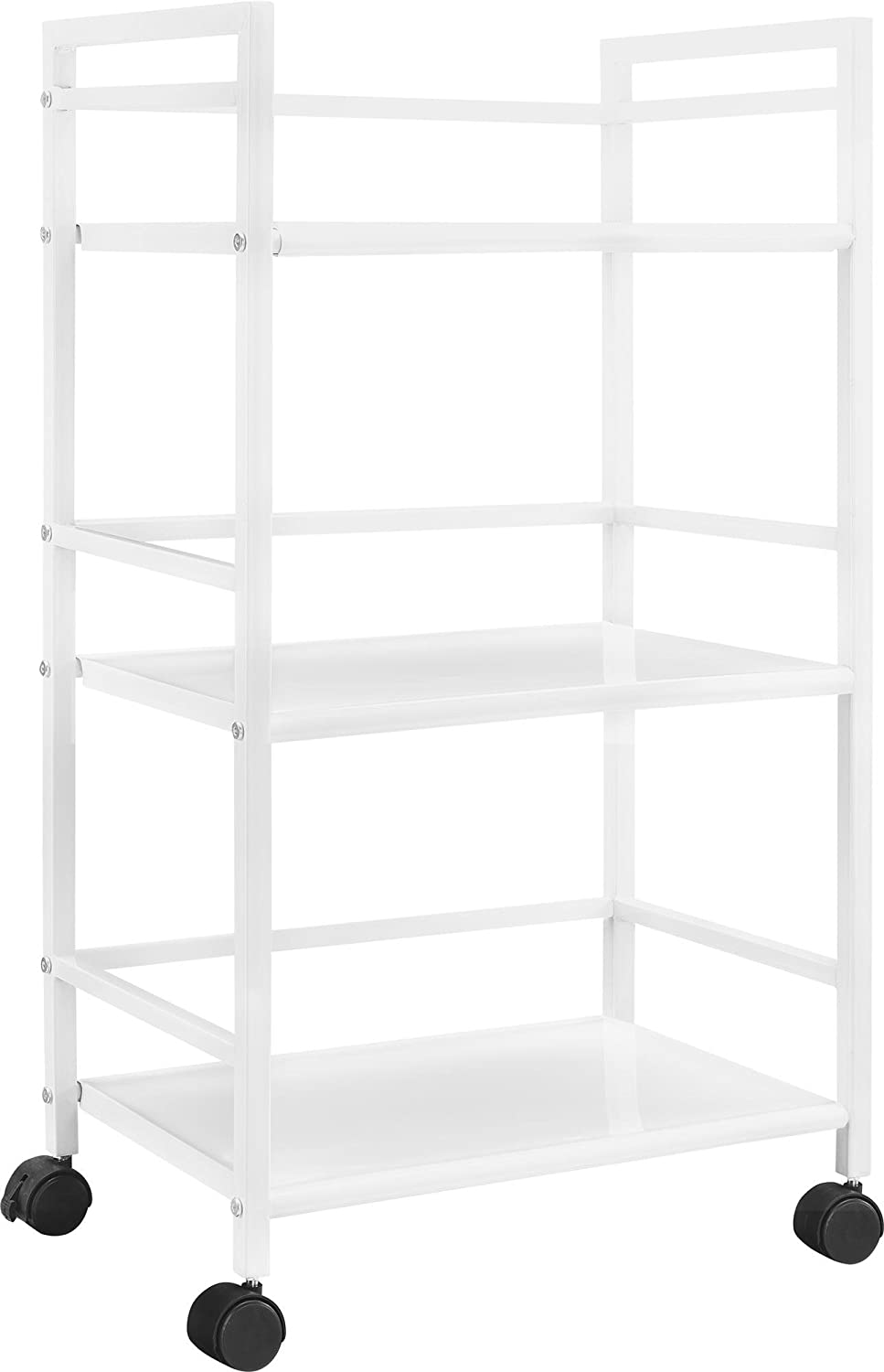Ameriwood Home Marshall 3-Shelf Metal Rolling Utility Cart, White Finish