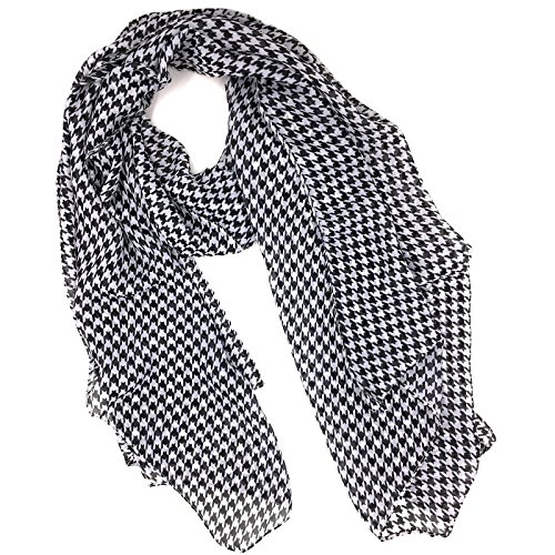Fashionable Houndstooth Soft Chiffon Scarf - Black White