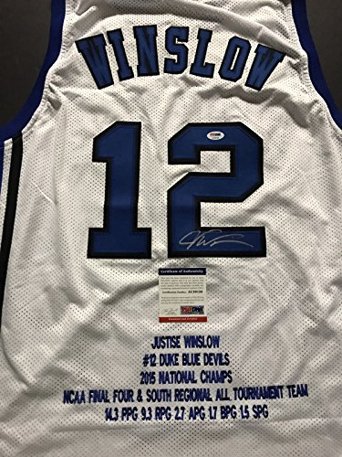 Autographed/Signed Justise Winslow Duke Blue Devils White Stat Basketball Jersey PSA/DNA COA