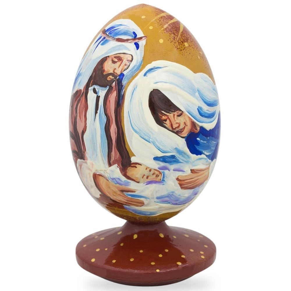 BestPysanky 3.5'' The Holy Family and Newborn Jesus Nativity Scene Wooden Figurine