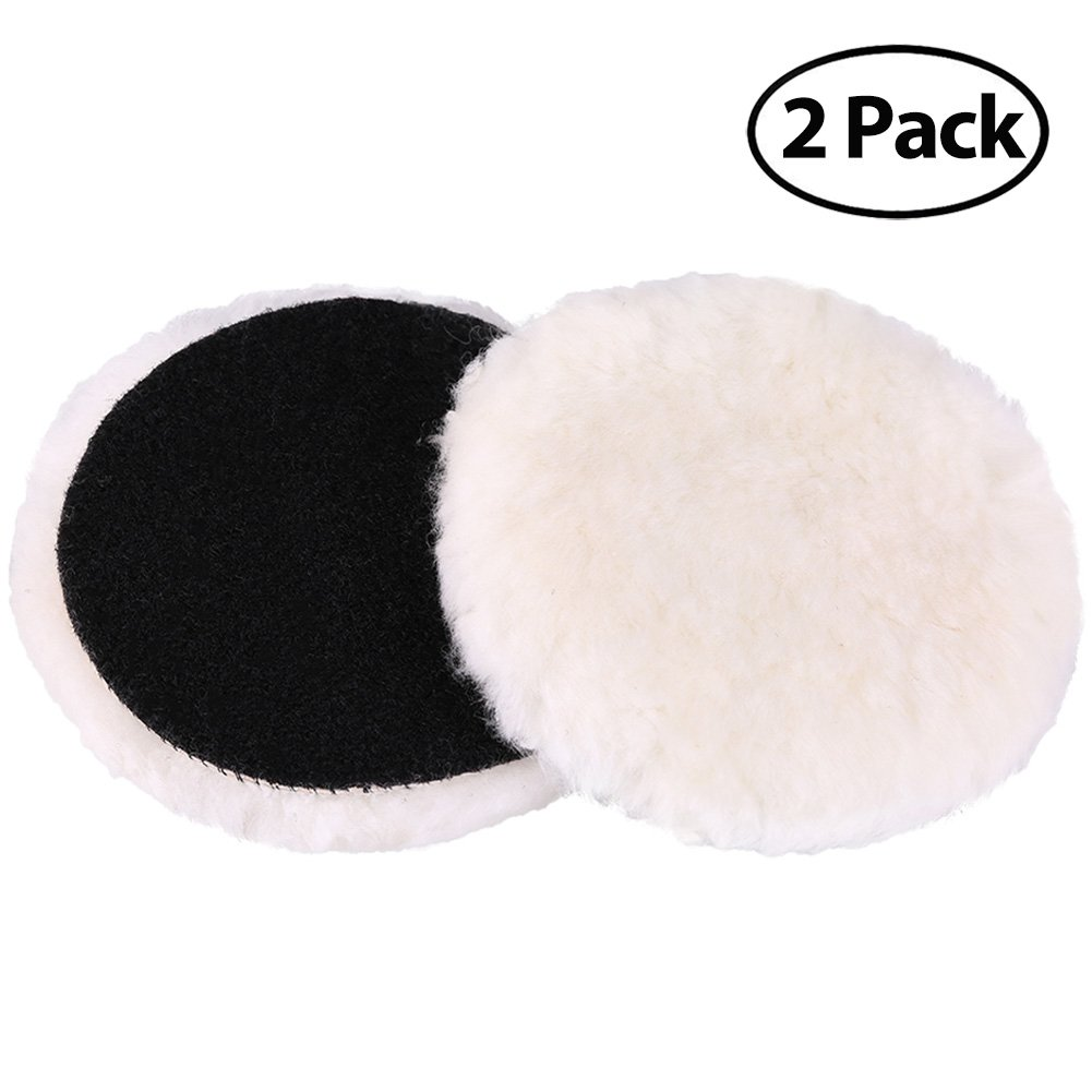 LotFancy 6-Inch Wool Buffing Pads Car Auto Hook and Loop Polishing Pads, Used with Rotary and Random Orbit Sander/Polisher, Pack of 2
