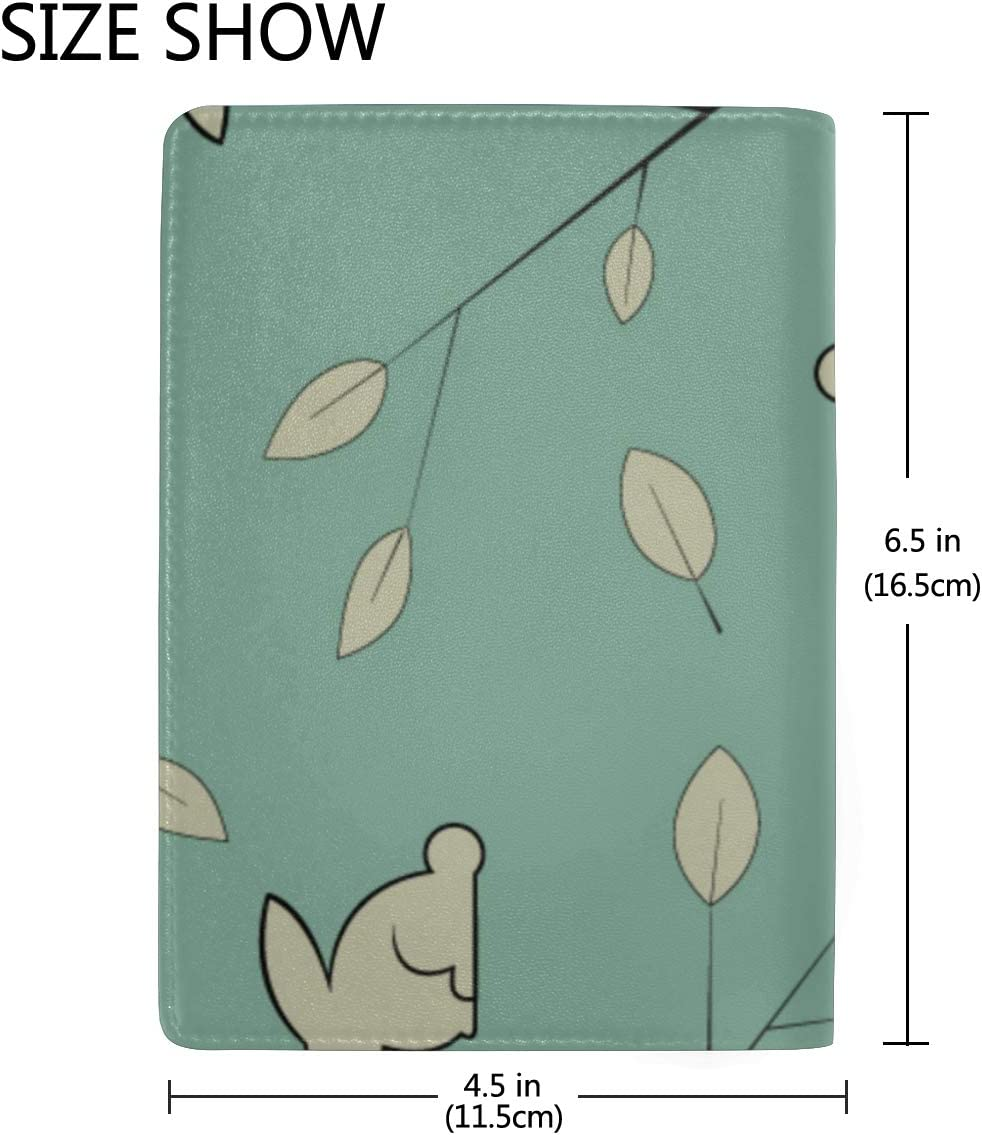 Leather Passport Cover Holder Fallen Leaves With Cute Rabbit Stylish Pu Leather Travel Accessories Leather Passport Cover For Women For Women Men