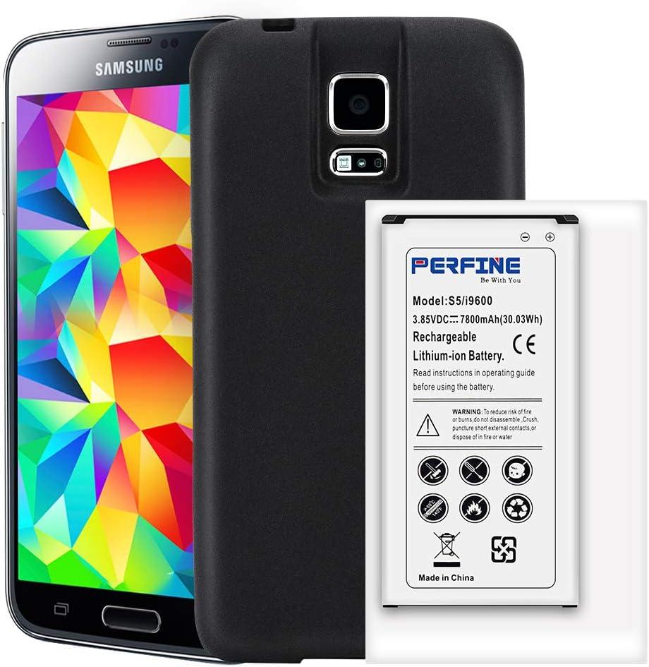 Perfine Batería Galaxy S5 7800mAh EB-BG900BBC Batería extendida ...
