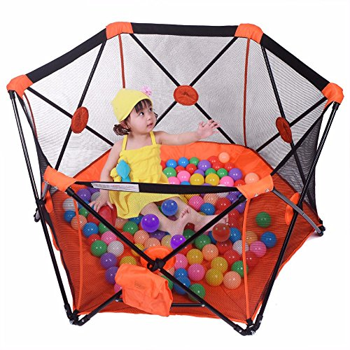 Pop Up Baby Playpen Kid Safety Pop Play Yard Panel Home Indoor Outdoor Hot (ORANGE) from Unbranded*