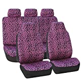 FH Group FB126PURPLE115 Purple Classic Leopard Animal Print Split Bench Car Seat Cover (Full Set Airbags Ready)