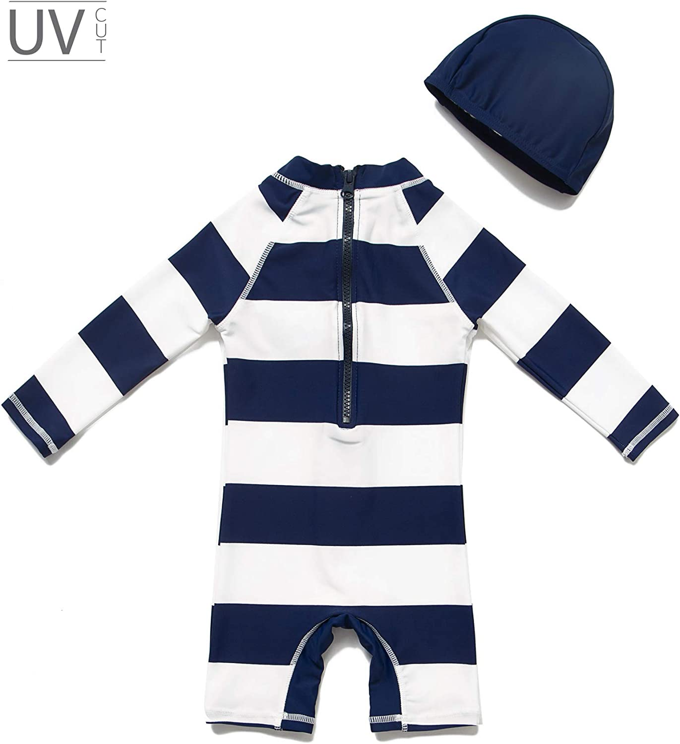 All in One Baby Boy Swimsuit One Piece UPF 50 Sun Protective Sunsuit with Sun Hat