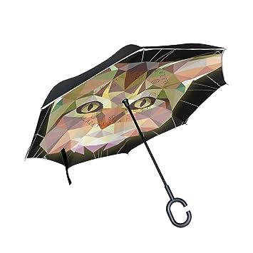 Mnsruu - Paraguas invertido de Doble Capa, diseño geométrico y Gato, Color Negro,