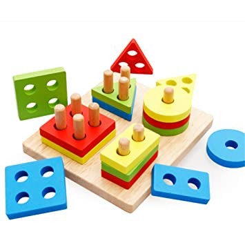 volksrose creative wooden color and shape geometric sorting board stack sort puzzle toys for