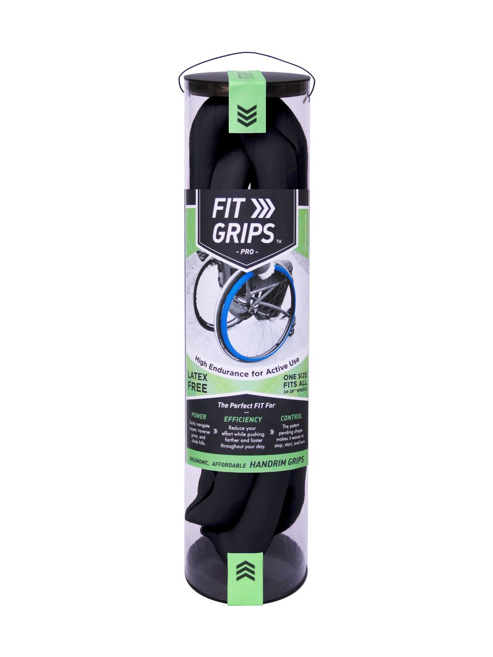 Fit Grips - PRO (Jet Black) (Fits 24-26'' Wheels, Great for Most Wheelchairs)