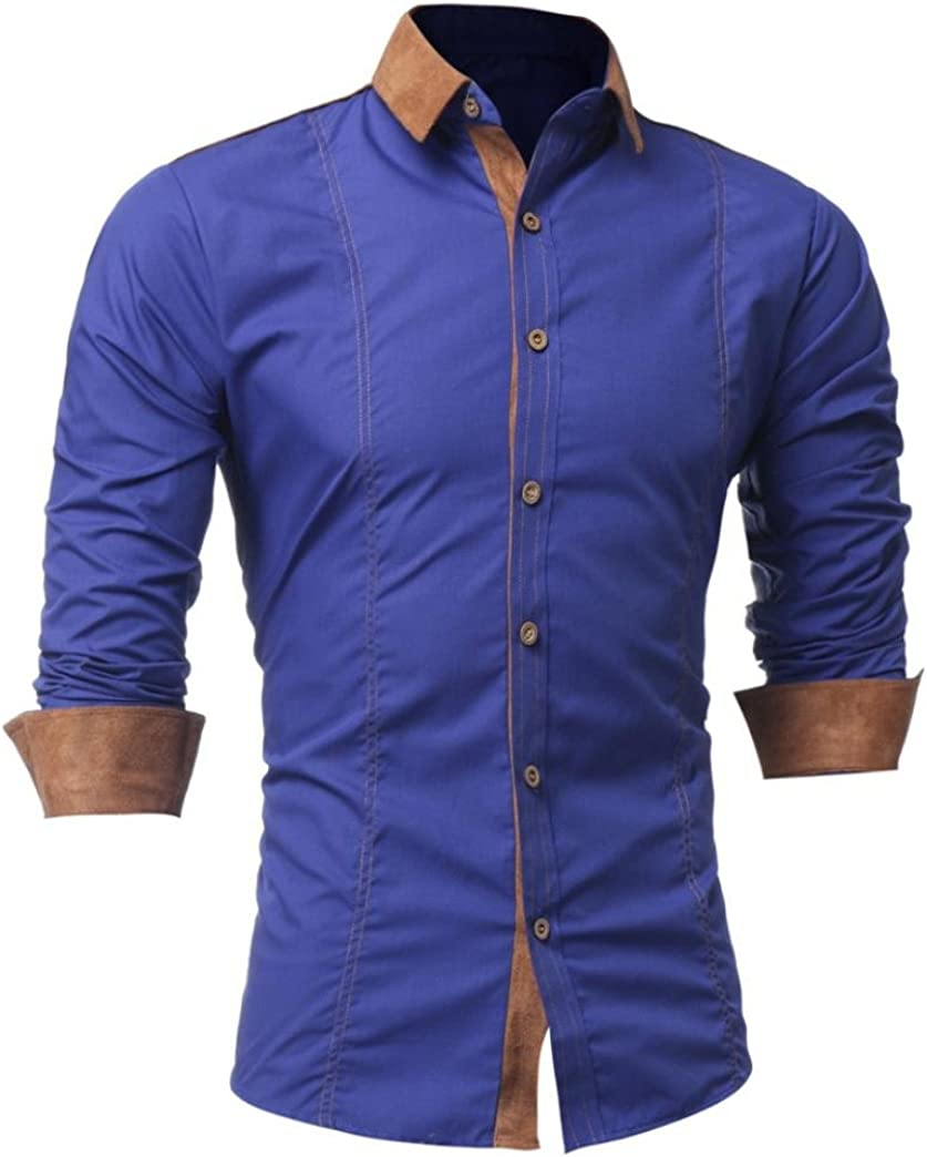 SPE969 Solid Color Patchwork Button Slim Fit Mens Turn-Down Collar Long Sleeve Top Blouse Shirt