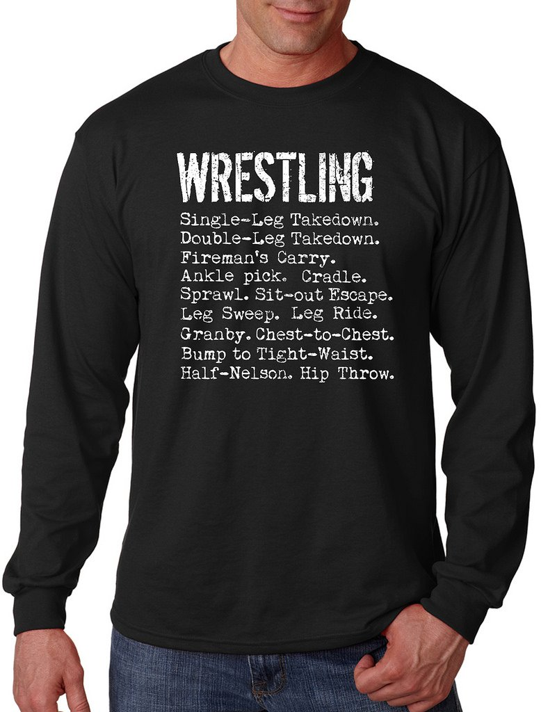 Men's Wrestling Moves Black Long Sleeve T-Shirt X-Large Black by Interstate Apparel Inc
