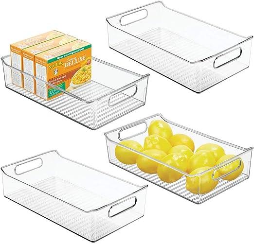 Mdesign Conjunto de 4 Caja de almacenamiento refrigerador nevera y congelador — Recipiente Con Tapa