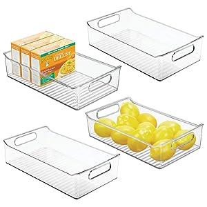 "mDesign Wide Plastic Kitchen Pantry Cabinet, Refrigerator or Freezer Food Storage Bin with Handles - Organizer for Fruit, Yogurt, Snacks, Pasta - BPA Free, 14"" Long, 4 Pack - Clear"