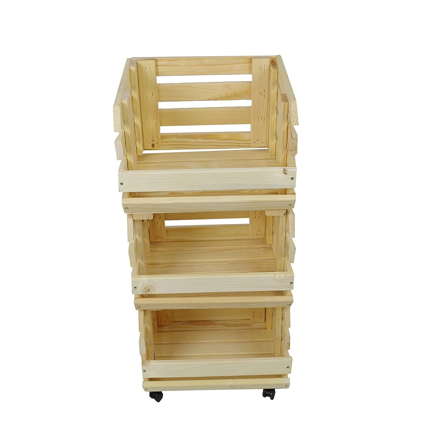 Solid Wood Potato Horde Fruit Stacking Potato Box with 4 Wheels Unbekannt