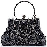 Women Clutch Evening Bag Elegant Classic Shoulder Bag Luxurious Handbag Purse (Black AA)