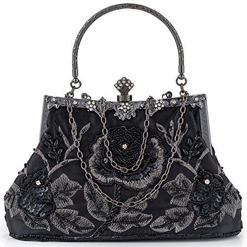 Women Clutch Evening Bag Elegant Classic Shoulder Bag Luxurious Handbag Purse (Black AA) by LONGBLE