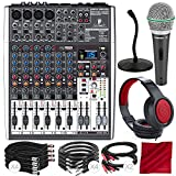 Behringer XENYX X1204USB 12-Input USB Audio Mixer with Effects and Dynamic Microphone, Closed-Back Headphones and Platinum Bundle