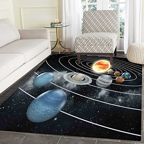 Galaxy Floor Mat Pattern Solar System All Eight Planets and The Sun Pluto Jupiter Mars Venus Science Fiction Living Dinning Room & Bedroom Mats 5'x6' Black Grey