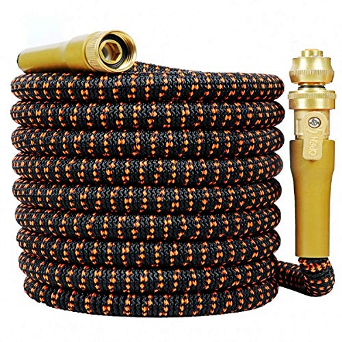 HOPITU Upgraded 25 Feet Expandable Garden Hose, Strongest Expanding 3750D Hose,Super Flexible Water Hose with 3/4″ Solid Brass Nozzle and Durable 4-Layers Latex